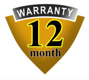 12 month warranty shield. Vector art of a 12 month warranty shield Royalty Free Stock Image