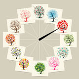 12 months with art trees, watches concept design. Vector Royalty Free Stock Images
