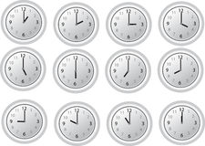 12 o'clock on the white clocks stock photography