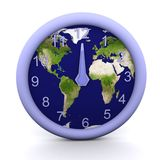 12 oclock. 3d rendered clock showing the time with earth background Stock Photo