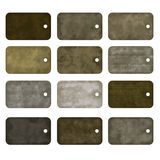 12 old tags, isolated on white. Old  grungy tags, isolated on white Stock Photography