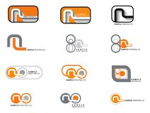 12 orange and grey logos Stock Photo