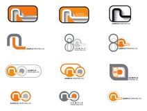 12 orange and grey logos. Illustration Stock Photo