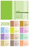 12 pagina'sKalender 2009 - 12 maanden Stock Fotografie