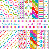 12  patterns. 12 vector  colorful patterns (seamless Royalty Free Stock Image