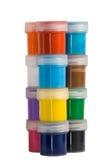 12 peintures acryliques de couleur ont placé Photographie stock