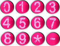 12 Pink Number Buttons Royalty Free Stock Photography