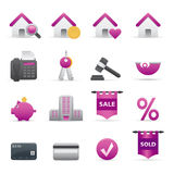 12 Purple Real State Icons. A group of coloured real state icons set Royalty Free Stock Image