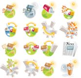12 real estate detailed icons. Detailed icons with buildings, cars etc stock illustration
