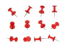 Free 12 Realistic Thumbtacks - RED Set (Translucent Plastic) Stock Photography - 31753312