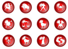 12 red zodiac web buttons Stock Photography