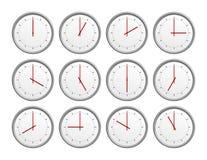 12 relojes Fotografía de archivo