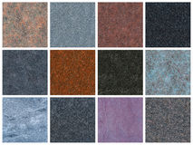 12 seamless natural granite textures Royalty Free Stock Photography