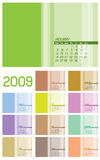 12 sidor för 2009 kalendermånadar Arkivbild