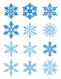 12 snowflakes. Vector 12 snowflakes with separated parts Stock Image