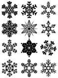 12 snowflakes Stock Images