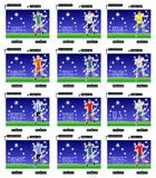 12 Soccer Championship Postcards. Set of postcards for the world championship of soccer. Double-sided postcards for greetings. Print the postcard, cut along the Vector Illustration
