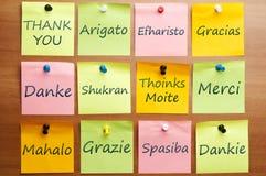 12 språk tackar ord dig Arkivfoto
