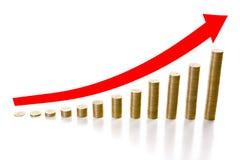 12 stapels muntstukken die de groei vertegenwoordigen Stock Afbeeldingen