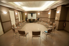 12 step recovery meeting room with chairs. And signs Stock Photo