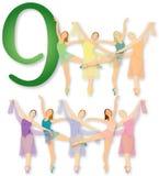 12 Tage Weihnachten: 9 Dame-Tanzen Stockfotos