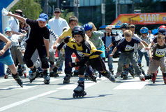 The 12 th Belgrade Roller Skates race Stock Image