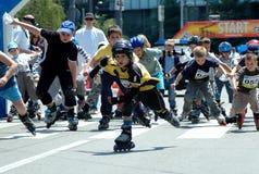 The 12 th Belgrade Roller Skates race. Start off young boy on the 12th Belgrade Roller Skates race Stock Image