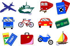 12 Travel Icons. Twelve travel icons, also available as buttons stock illustration