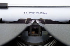12 Twelve Step Program Typed on an Old Typewriter Royalty Free Stock Images