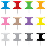 12 Vector Pushpins in Side View. Set of 12 illustrated pushpins in flat color, each pushpin uses 4 flat shades of color stock illustration