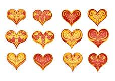 12 verfraaide harten Stock Afbeelding