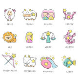 12 Zodiac Constellation Mascot Icon Royalty Free Stock Photos