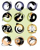 12 zodiac sings. Vector illustration of all 12 zodiac signs saved in EPS format, no transparency used Stock Photography