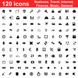 120 icons set. Biggest collection of 120  different icons for using in web design Stock Photos