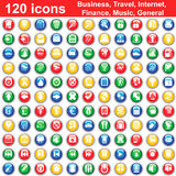 120 icons set. Biggest collection of 120  different icons for using in web design Royalty Free Stock Photo
