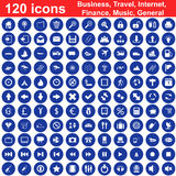 120 icons set. Biggest collection of 120  different icons for using in web design Royalty Free Stock Images