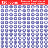 120 icons set. Biggest collection of 120  different icons for using in web design Stock Photo