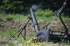 120 mm mortar. Shortly after fire with smoking gun barrel Stock Photos