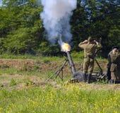 120 mm mortar firing. Russian second world war 120 mm mortar firing Royalty Free Stock Image