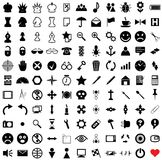 121 vector pictograms. Black-and-white contour. Set 1 royalty free illustration