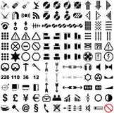 121 vector pictograms. Black-and-white contour. Set 2 Royalty Free Stock Photography