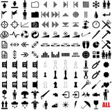 121 vector pictograms. Black-and-white contour. Set 3 Royalty Free Stock Photo
