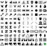 121 vector pictograms. Black-and-white contour. Set 4 Stock Photo
