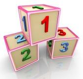 123 цветастых кубика 3d Стоковые Изображения RF