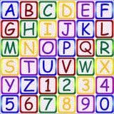123 abc-bokstavsnummer stock illustrationer