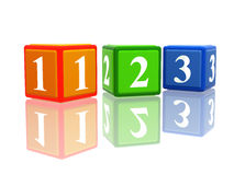 123 color cubes. 3d colorful cubes with ciphers 123 with reflection Stock Images