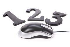 123 et souris d'ordinateur Image stock