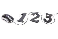123 et souris d'ordinateur Photos libres de droits