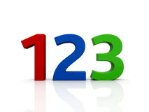 123 numbers. Colored numbers isolated on white background Royalty Free Stock Photography