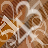 123 Numbers Abstract Background. Illustration with scattered numbers of wavy brown background Stock Image